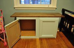 Repurposed Kitchen Cabinet as Toddler Storage Bench