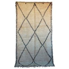 """Vintage Beni Ourain Rug - 6'4"""" X 11'9"""" ($1,750) ❤ liked on Polyvore featuring home, rugs, hand-knotted rug, geometric area rug, harlequin rugs, hand knotted area rugs and diamond rug"""