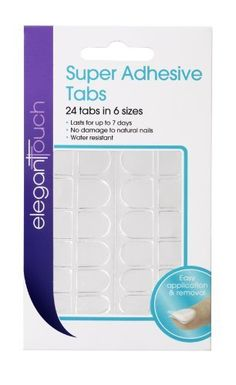 Elegant Touch Super Adhesive Acrylic False Nail Tabs by Elegant Touch. $5.97. Lasts for up to 7 days. Water resistant. Easy application and removal. No damage to natural nails. 24 tabs in 6 Sizes. Super adhesive tabs will secure your false nails for up to 7 days. An alternative to nail glue, easy to apply and remove. Will not damage your natural nails.