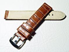 Uhrenarmband Leder Ersatz Armband Kroko Look Watch Strap Leather braun 24 mm *