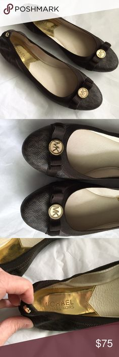 Michael Kors Brown Flats! Michael Kors brown logo ballet flats! Front has Gold tone MK emblem on the front! Great condition! Size 9.5 MICHAEL Michael Kors Shoes Flats & Loafers