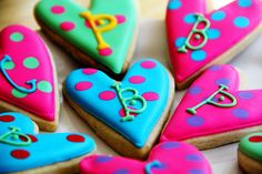 Bright monogramed sugar cookies.  Great idea for a girl's birthday or slumber party.
