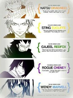 Quotes from the Dragon Slayers: Natsu Dragneel, Wendy Marvel, Gajeel Redfox, Sting Eucliffe, Rouge Cheney Nalu, Fairytail, Jellal, Gajeel Y Levy, Image Fairy Tail, Fairy Tail Love, Fairy Tail Ships, Fairy Tail Fotos, Fairy Tail Anime