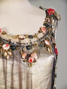 Silver Evening Dress, detail, with ribbon work and sequins, attributed to Boué Soeurs, France, Mid-1920s.