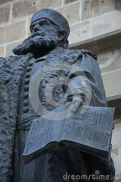 Johannes Honterus, renaissance humanist and theologian and he implemented the Lutheran reform in Transylvania. Memorial monument next to the Black Church in Brasov, the saxon city of Kronstadt, Transylvania region, Romania. Black Church, Lutheran, Romania, Renaissance, Medieval, German, Statue, Stock Photos, History