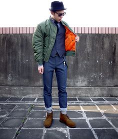 Alpha Industries Vintage Ma1 Jacket, Mexx Denim Trouser, Joseph Cheaney  Sons Desert Boot, Uniqlo Tie