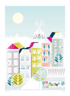 Barcelona Spain European City Art Print A4 by lauraamiss on Etsy