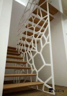 staircase wood-railing-metal-openwork-draw-the-home - divider Wood Railing, Stair Handrail, Staircase Railings, Wooden Staircases, Modern Staircase, Staircase Design, Stairways, Escalier Design, Interior Stairs