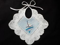 Embroidered Baby Bib lace trimmed vintage style sailboat infant boy linen cotton child baby burp cloth blue kids tie back