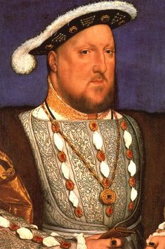 Henry VIII at age 45, just about a year after the previous portrait and around the time he had Anne Boleyn executed. (There seems to me to be a huge difference in Henry's demeanor when compared to the portrait made during his marriage. I often wonder what happened to him to change him so much...) He also married his third wife, Jane Seymour, at this time.