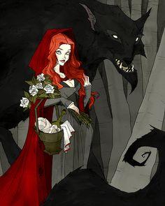 Little Red and the Wolf by AbigailLarson.deviantart.com on @DeviantArt