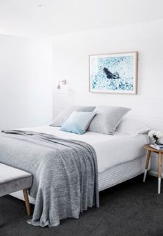 Total transformation: Hamptons-style haven Your bedroom could look like this – we can help! At Modsy we create renders designed specifica Spare Bedroom, Grey Carpet Bedroom, Interior, Home, Home Bedroom, Bedroom Inspirations, Bedroom Carpet, Bedroom, Bedroom Styles