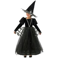 Girls Diamond Witch Costume includes a sparkly black dress and large black witch hat. This witch costume for girls features faux diamond and spider web details. Kids Witch Costume, Halloween Costume Shop, Halloween Fancy Dress, Halloween Costumes For Girls, Girl Costumes, Children Costumes, Halloween Nails, Costume Ideas, Black Sparkly Dress