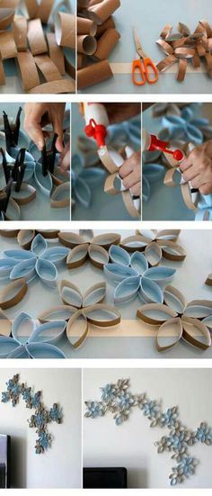 Toilet paper roll wall art, kinda wanna do this for my new room/apartment room:P