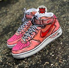 Custom Nike Sneakers - Katty Customs- Wonderful World Sneakers Mode, Custom Sneakers, Sneakers Fashion, Shoes Sneakers, Yeezy Shoes, Vans Shoes, Nike Custom Shoes, Sneakers Design, Adidas Shoes