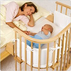 Babies need to be near their mothers at night.  This the Beistellbett, available from Germany.