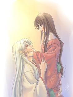 An older Rin gently holding Sesshomaru's face in her hands - InuYasha; fan art