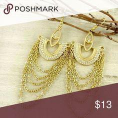 "Maritza hanging earrings Chic hanging earrings with dazzling rhinestones 3"" long Jewelry Earrings"