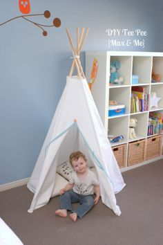 DIY TeePee - Max and Me Blog. For the boy's room....eventually