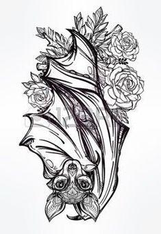 vampire bat tattoo: Ornate nocturnal bat with roses. Neue Tattoos, Body Art Tattoos, Tattoo Drawings, Sleeve Tattoos, Cool Tattoos, Bat Tattoos, Tattoo Art, Tatoos, Mirror Tattoos