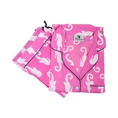 Monterey Pink Pajama Set L Pajamas (105 ILS) ❤ liked on Polyvore featuring intimates, sleepwear, pajamas, long sleeve pajamas, pink pjs, long sleeve pyjamas, button down pajamas and button up pajamas
