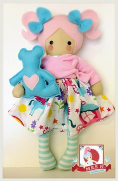"19"" handmade doll with removable Skirt, cardigan and teddy bearCE marked and suitable for all agesHandwash only"