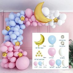 Prom Balloons, White Balloons, Foil Balloons, Latex Balloons, Moon Balloon, Balloon Garland, Balloon Decorations, Balloon Ideas, Engagement Party Decorations
