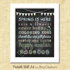 easter chalkboard | Easter Chalkboard Subway Art Printable Wall Art by BitsyCreations. $5 ...