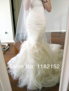 Real picture charming strapless mermaid ruched corset  vara wang organza wedding dress bridal dresses 2014 custom made