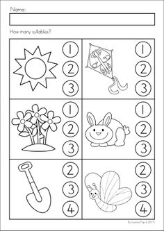 Kindergarten SPRING Math & Literacy unit. 93 pages in total. A page from the unit: How many syllables?