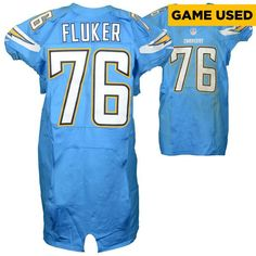 D.J. Fluker San Diego Chargers Fanatics Authentic Game Used Powder Blue #76 Jersey from Week 7 vs Oakland Raiders on October 25, 2015 - $487.49