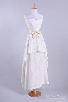 1950 Eyelet Sweetheart Vintage Wedding Dress