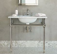 Lucy is looking for some info: I am in the process of researching a bathroom remodel and came across the picture below. It's love - the faux concrete wall finish, the tile, the sink. *Sigh* The sink is the Gramercy Metal Washstand, by Restoration Hardware, and it's somewhat out of my price range... (Note: Include a pic of your problem and your question gets posted first. Email questions and pics with QUESTIONS in subject line to: sf(at)apartmenttherapy(dot)com)