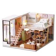 Furniture Toys Dashing Fashion Diy Miniature Loft Dollhouse Kit Realistic Wooden Toy Furniture Christmas Gift Cool In Summer And Warm In Winter