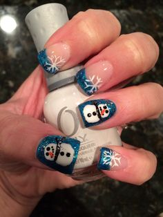 Snowman nails Christmas Nail Art Designs, Holiday Nail Art, Winter Nail Art, Winter Nails, Fingernail Designs, Nail Polish Designs, Christmad Nails, Xmas Nails, Fun Nails