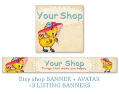 Etsy shop banner & avatar Personalized pre-made banner Duck banner Etsy shop set Cute Bookmarks Paper goods made by FrezeArt