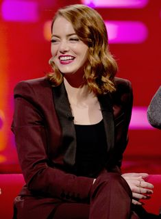 Emma Stone during filming of the Graham Norton Show (Jan 12, 2017)
