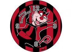 TIF8 OROLOGIO MURO 30CM ROSSO/NERI  Orologio rotondo da parete con cornice rossa e quadrante con vetro-color rosso nero e disegno diavoletto Forza Rossoneri