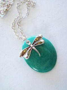 *SOLD* Dragonfly Necklace, Organic Necklace, Vegan Ivory Necklace, Ivory Alternative, Vegan Jewelry, Eco-Friendly Necklace by TerriJeansAdornments on Etsy