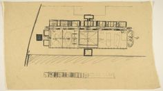 Louis I. Kahn. Tribune Review Publishing Company Building, Greensburg, Pennsylvania, Plan sketch. 1958 Plan Sketch, Louis Kahn, Film Studies, Video Library, School Architecture, Museum Of Modern Art, Film Stills, Moma, Line Drawing
