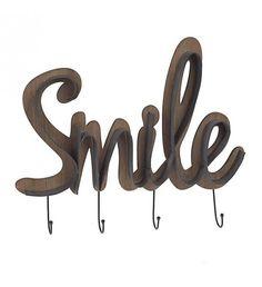 METAL_WOODEN WALL HANGER 'SMILE' 59X5X52