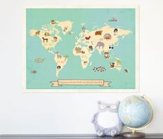 Global Compassion 24x18 Childrens Map Print von ChildrenInspire, $40.00