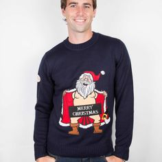 Naked Santa Christmas Jumpers for sale from Funky Christmas Jumpers Ireland. Fun Santa Christmas Jumpers that is ideal for the Christmas Party Season. Mens Christmas Jumper, Christmas Jumpers, Santa Christmas, Xmas, Hanging Out, Laughter, Naked, Graphic Sweatshirt, This Or That Questions