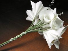 Origami paper flower bouquet in classic white