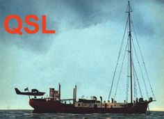 Radio Nord (Sweden) QSL card 1962. The station was often supplied by a light aircraft as illustrated on this card