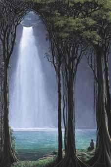 Luz en la cascada del río azul - Tomas Sanchez, contemporary Latin American landscape art