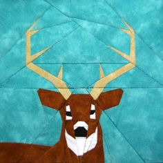 White-tailed Deer paper-piecing quilt pattern, PDF. $3.00, via Etsy.