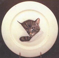 buffalo pottery chessie cat chesapeake ohio dinner plate