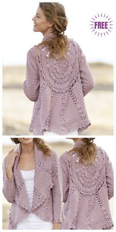 Cardigan Sweater Free Crochet Pattern The Webwork Cardigan, an open-front, ethereal sweater encompasses a tremendous cool sew design. It really works properly with so many outfits, an awes. Diy Crochet Cardigan, T-shirt Au Crochet, Pull Crochet, Crochet Coat, Crochet Shirt, Crochet Clothes, Free Crochet, Crochet Circles, Crochet Fashion