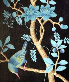 Milo & Co, chinoiserie wallpaper, bluebird, blue flower, black ground, chic.